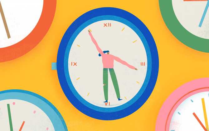 Illustration of woman in a clock and her arms out as clock hands