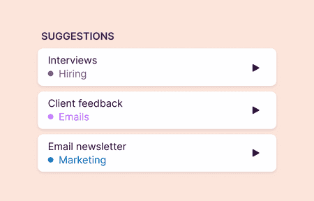 Snippet of suggestions feature in Toggl Track mobile app