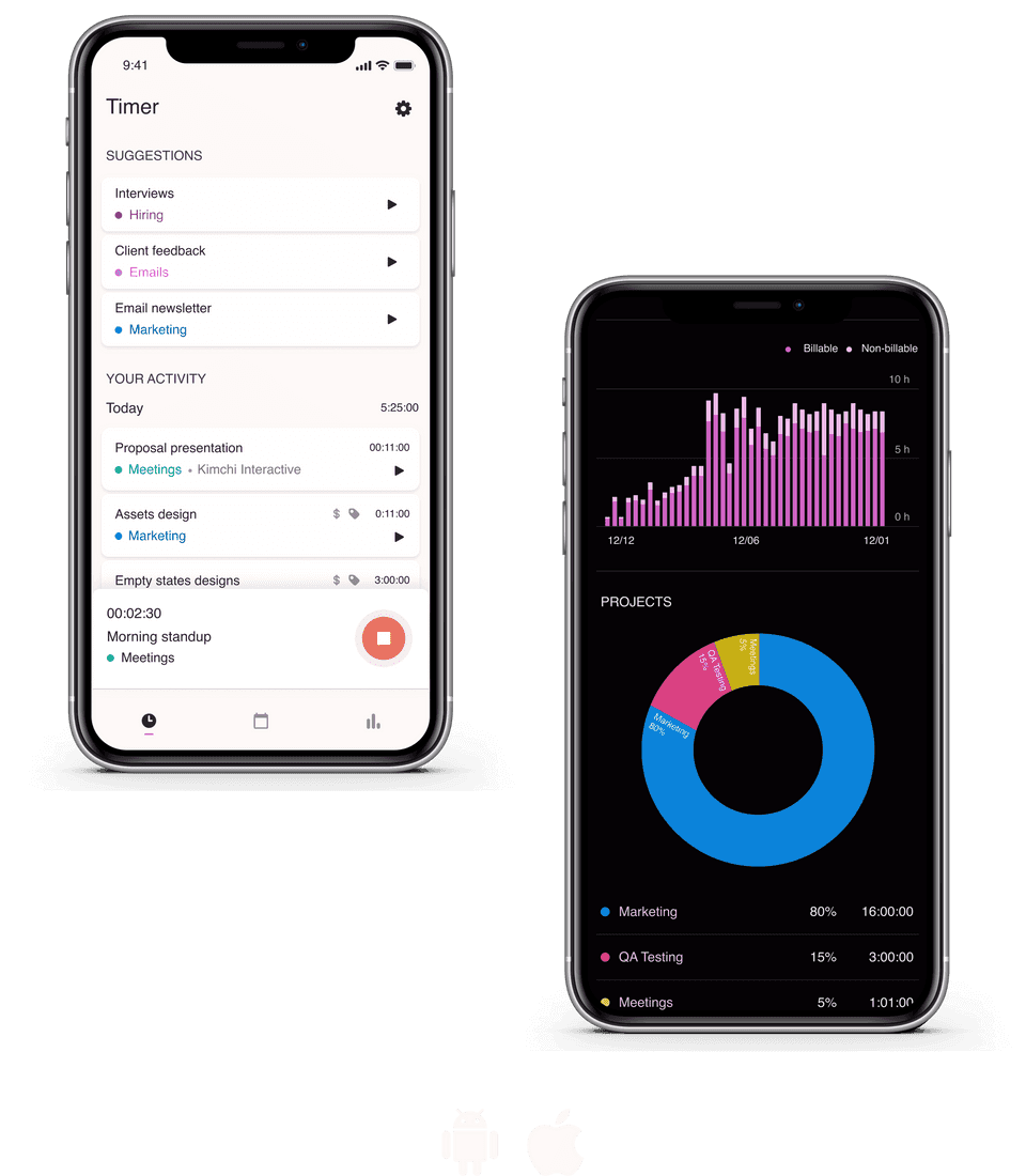 Screenshots of Toggl Track iOS and Android apps