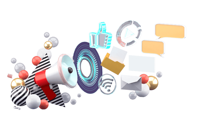 3D rendered illustration of a megaphone at the bottom left corner of a scene scattered with objects symbolizing work, such as a thumbs up for social media or an envelope for email