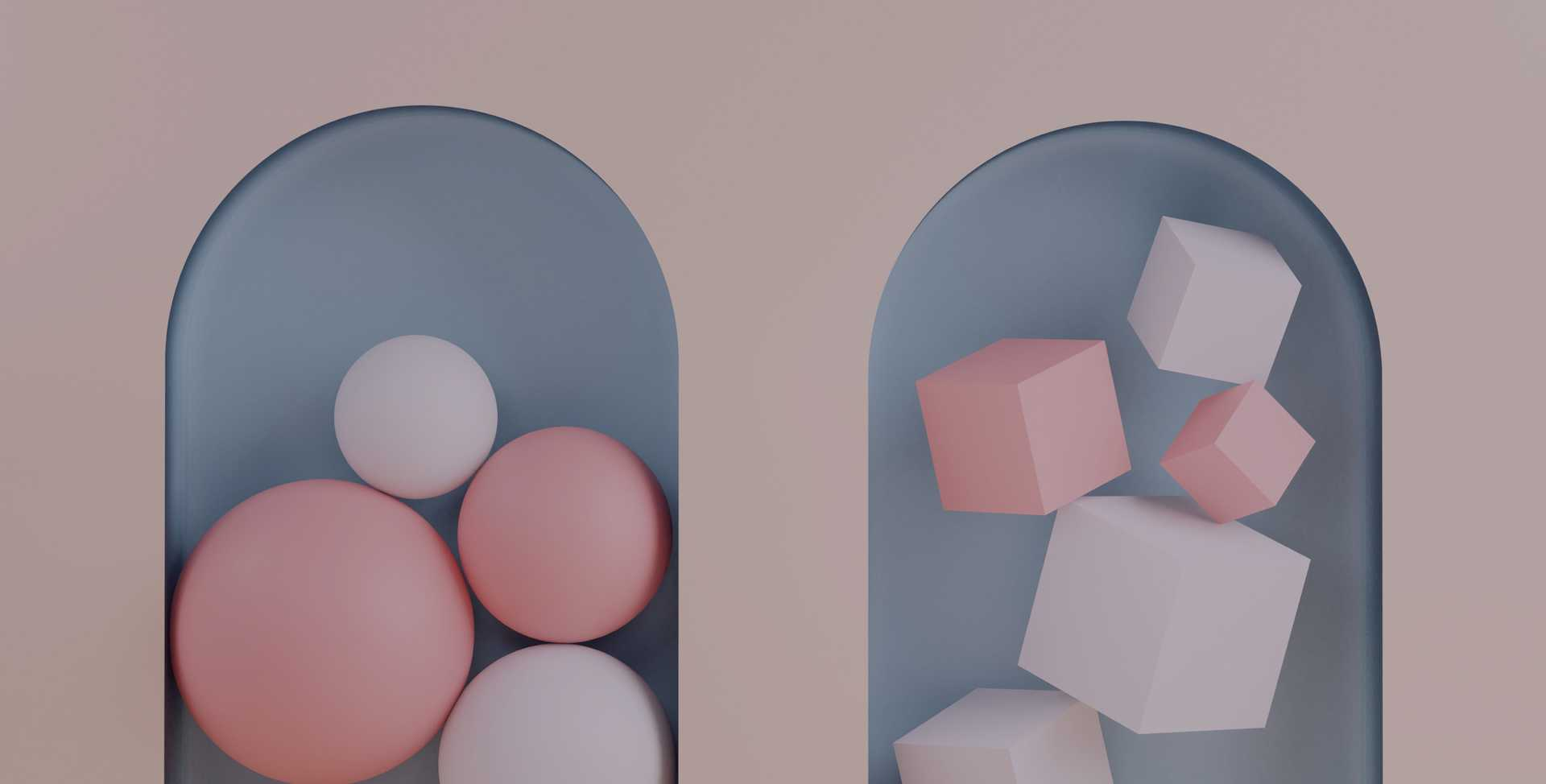Abstract 3D rendering of two different compartments, one containing spheres and another containing cubes, representing different types of activities