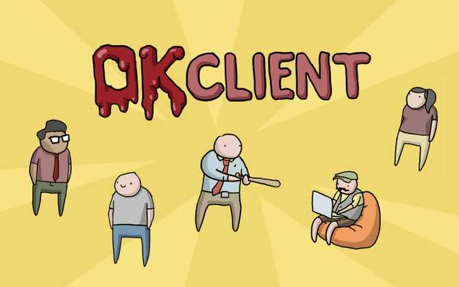Illustration of multiple characters and the title 'OKClient'