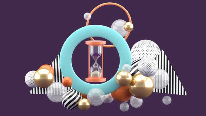 Coral pink hourglass sits at the center of a mint blue shaped ring amid abstract spherical shapes against a purple backdrop