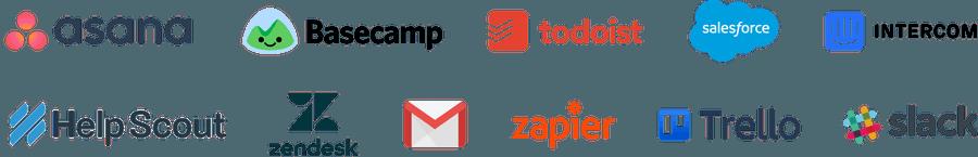 Tools: Asana, Basecamp, Todoist, Salesforce, Intercom, Help Scout, ZenDesk, GMail, Zapier, Trello, Slack