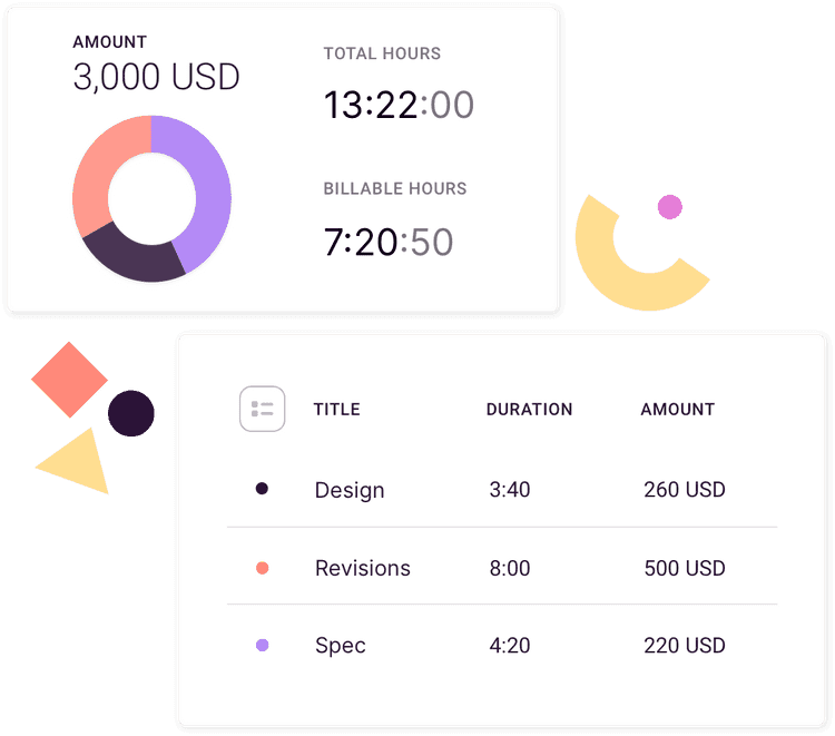 Screenshot of time entries