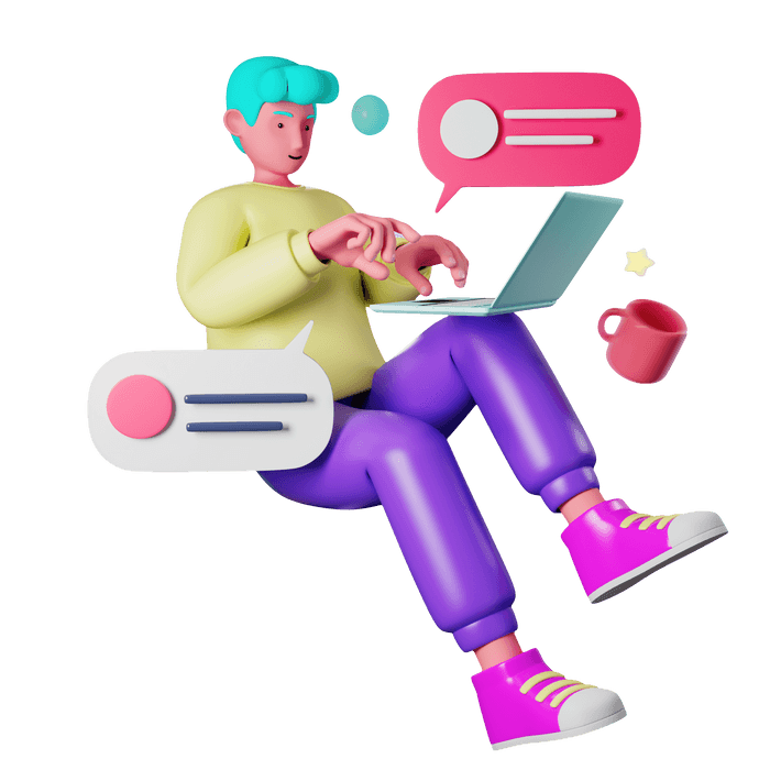 3D rendered illustration of a person in a sitting position working and typing into an open personal computer balanced on one knee, surrounded by speech bubbles