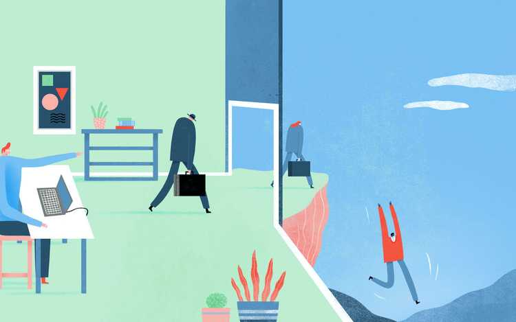Illustration of people leaving an office