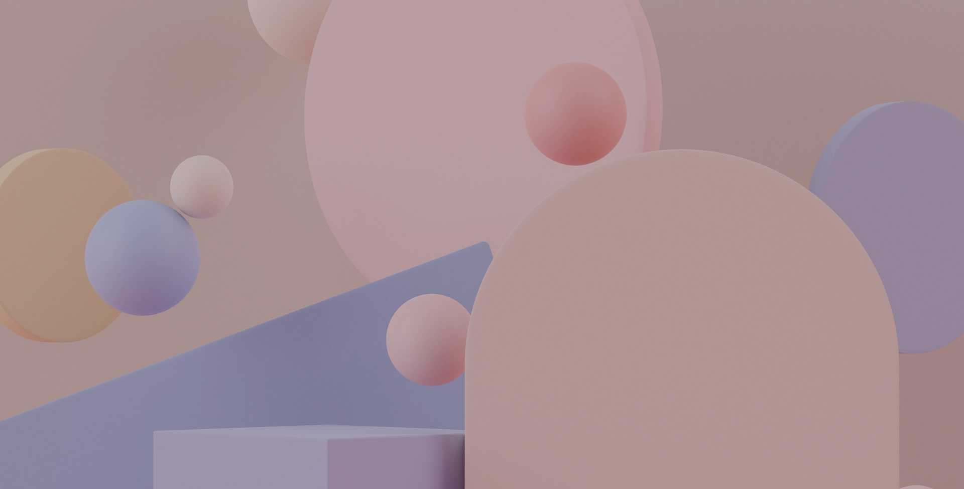 3D rendered image of various pastel pink and purple colored shapes against a beige background