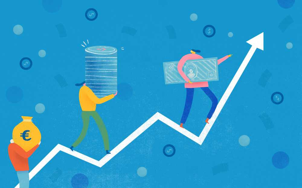 Illustration of people carrying money and standing on a line graph