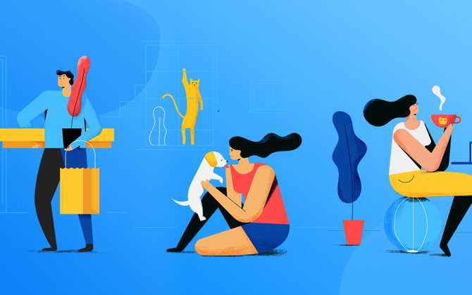 Illustration of multiple characters performing daily activities such as working, buying groceries and relaxing.