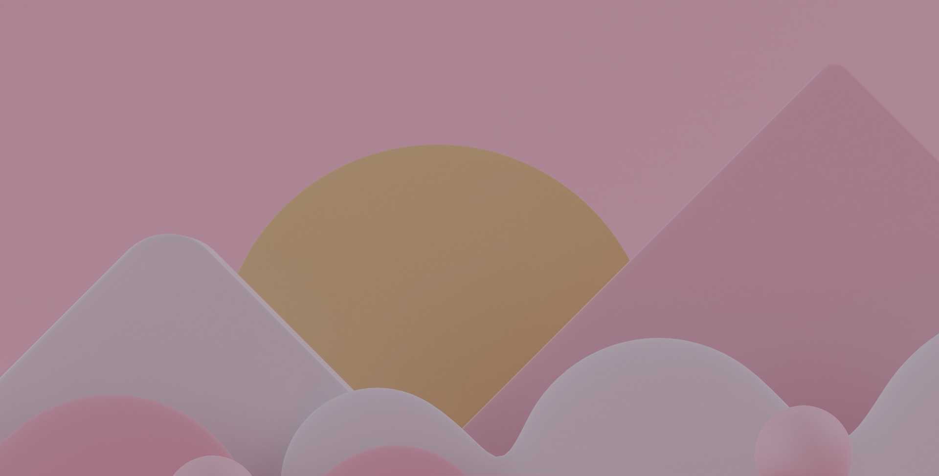 Abstract rendering of pink and white mountains against the backdrop of a pink sky with a large yellow sun, representing health and wellbeing