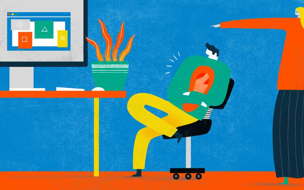 Illustration of two people in an office space