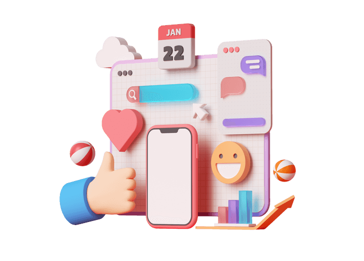 3D illustration of a hand making a thumbs up gesture in front of a whiteboard, alongside a smartphone, a miniature calendar, a text messaging window, a bar graph, a search bar, a smiling face emoji and a heart
