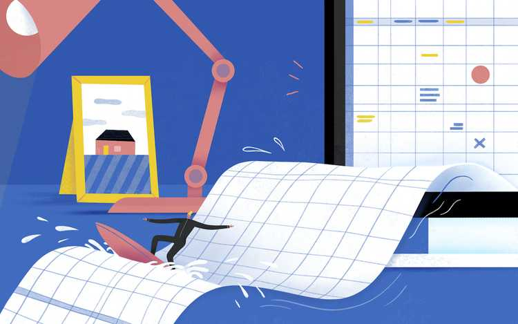 Illustration of man surrounded by spreadsheets