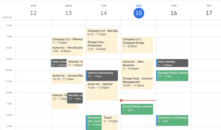 Screenshot of how Toggl Track time entries will look in Google Calendar