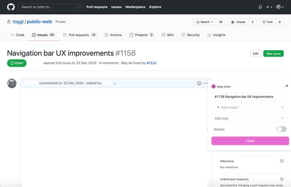 Start the timer in GitHub