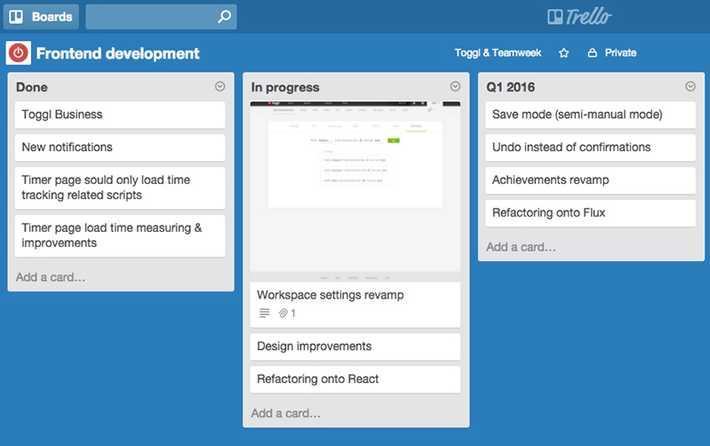 Agile development workflow in Trello