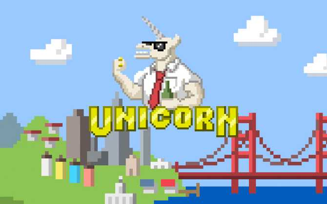 Illustration a unicorn wearing office attire with the title 'Unicorn', with a San Francisco background