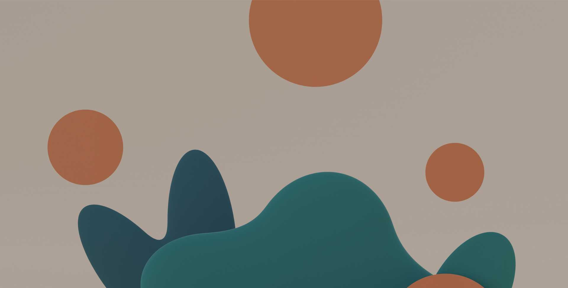 Orange circles floating above a green oblong shape resembling a mountain, against a beige background