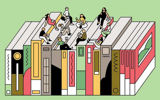 Illustration of team members sitting on books