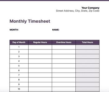 Screenshot of Monthly timesheet