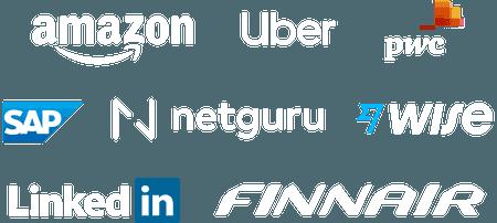 Company logos: Google, BCG, Square, Carat, GoFundMe, TrasnferWise, Ogilvy