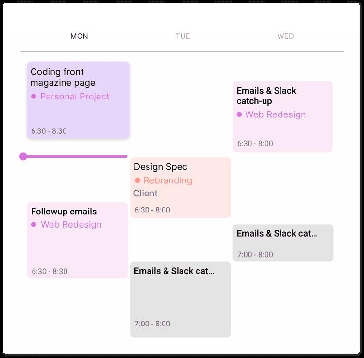 Screenshot of Toggl Track's calendar view