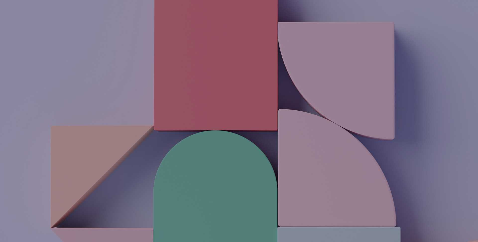3D rendering of pink, green, and purple shapes against a light purple background