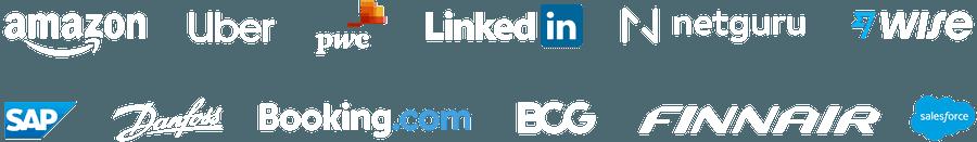 Company logos: Google, BCG, Microsoft, Booking.com, Ogilvy, TransferWise, Carat, SAP, Square, ACLU, PMG, The Mom Project, GoFundMe