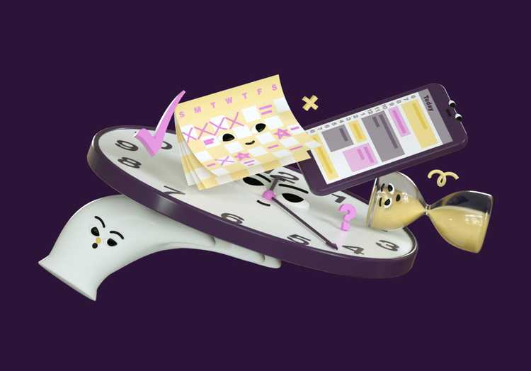 3D illustration of a group of items such as sand timer, mobile phone, clock and a calendar.