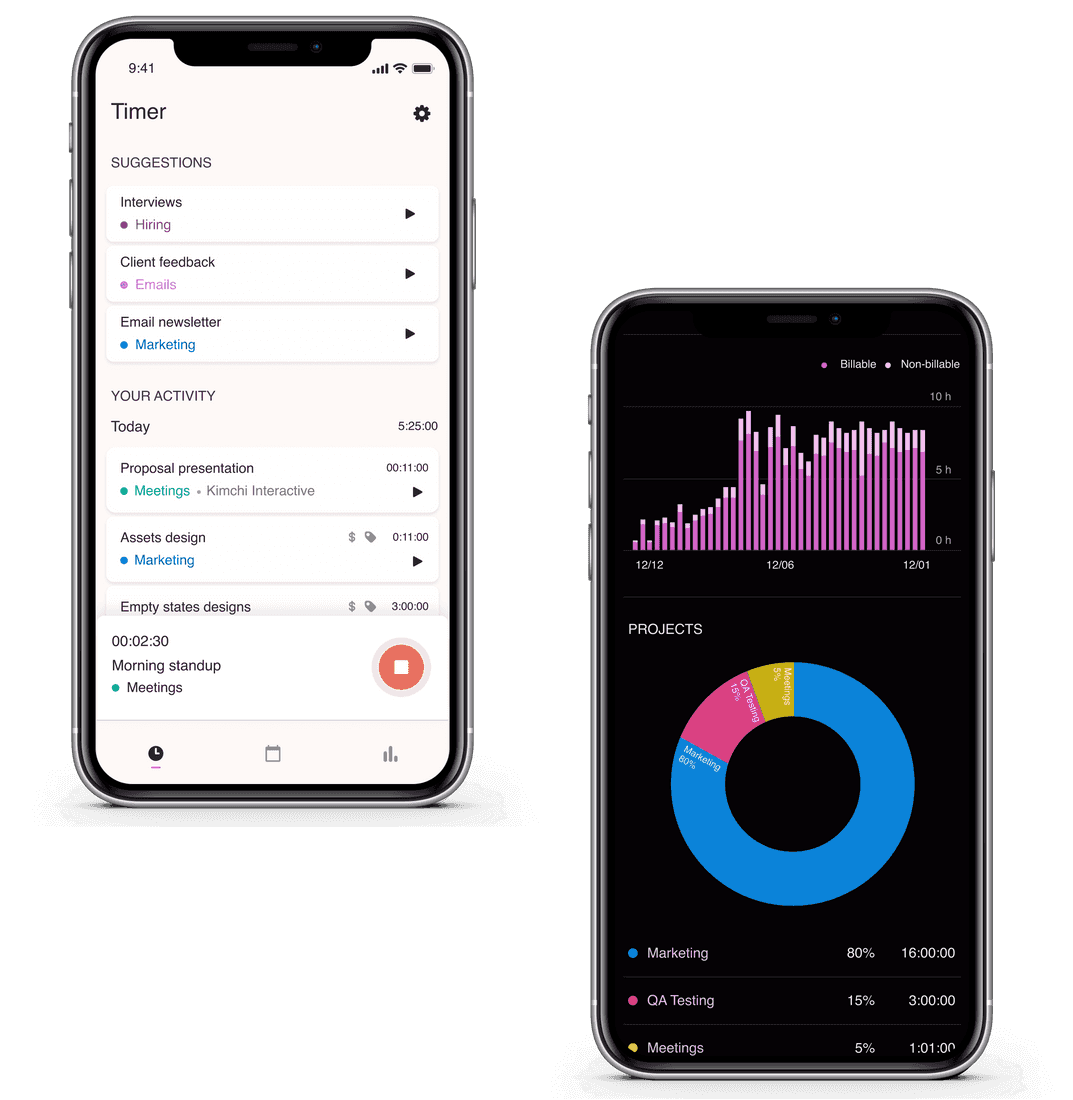Screenshots of Toggl Track iOS app for iPhone and iPad