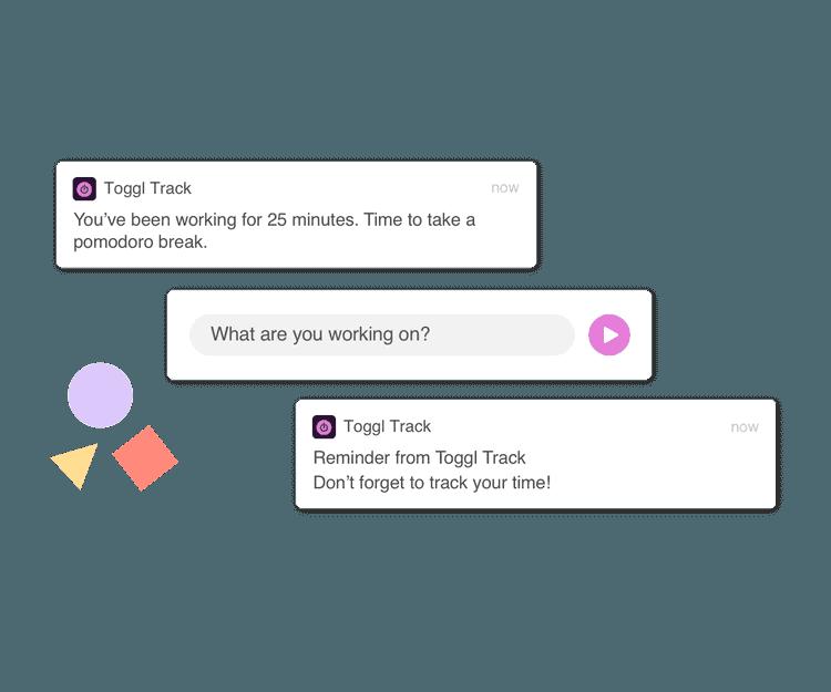 Screenshot of time tracking reminders