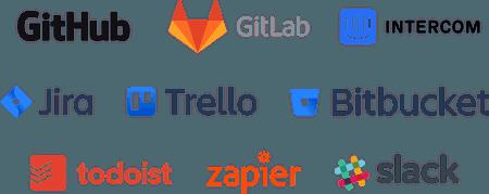 Tools: GitHub, GitLab, Intercom, Jira, Trello, BitBucket, GitHub, Todoist, Zapier, Slack