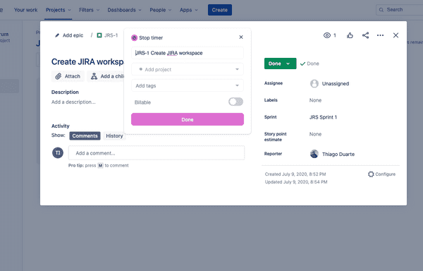 Start the timer in Jira