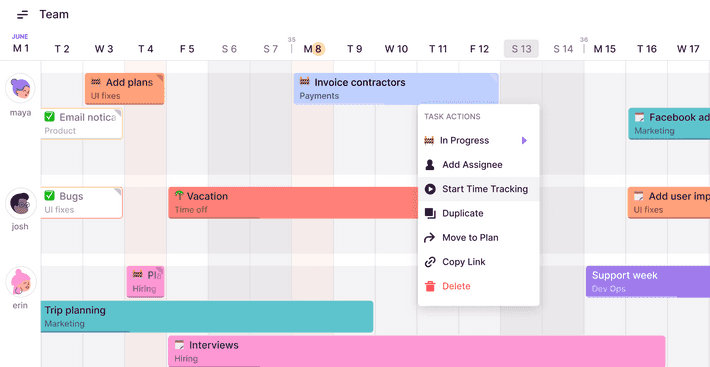 Screenshot of Toggl Track integration in Toggl Plan's UI
